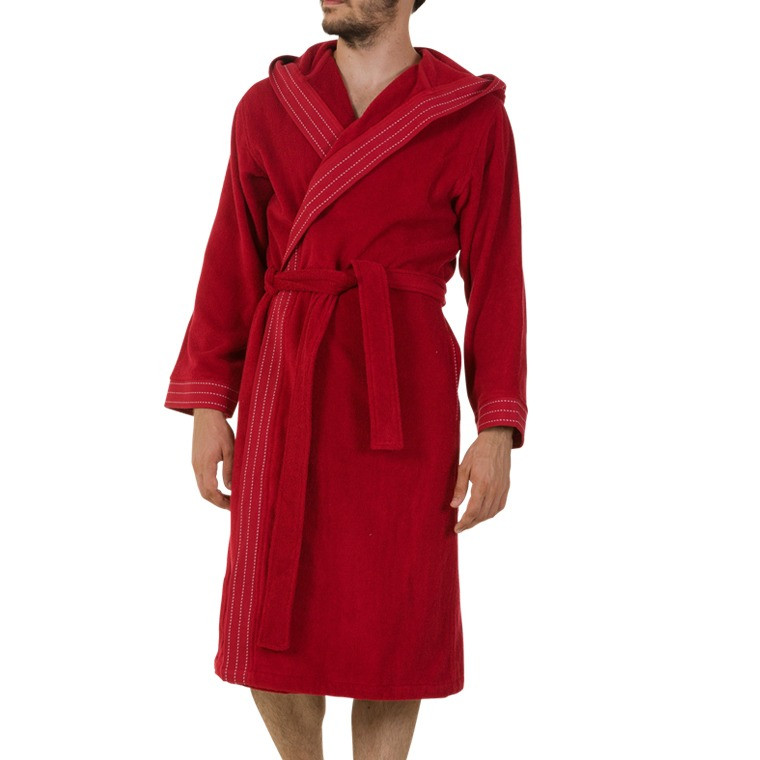 Peignoir homme edgard rouge carre blanc for Peignoir eponge homme carre blanc