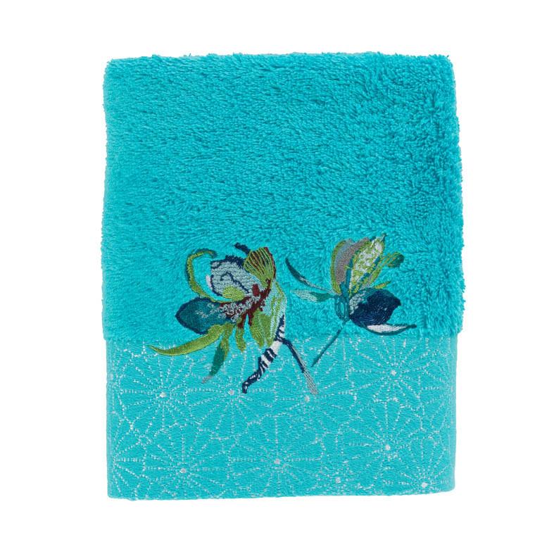 serviette de toilette iloha turquoise carre blanc. Black Bedroom Furniture Sets. Home Design Ideas