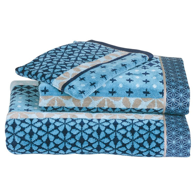 serviette de toilette curacao bleu jacquard carre blanc. Black Bedroom Furniture Sets. Home Design Ideas