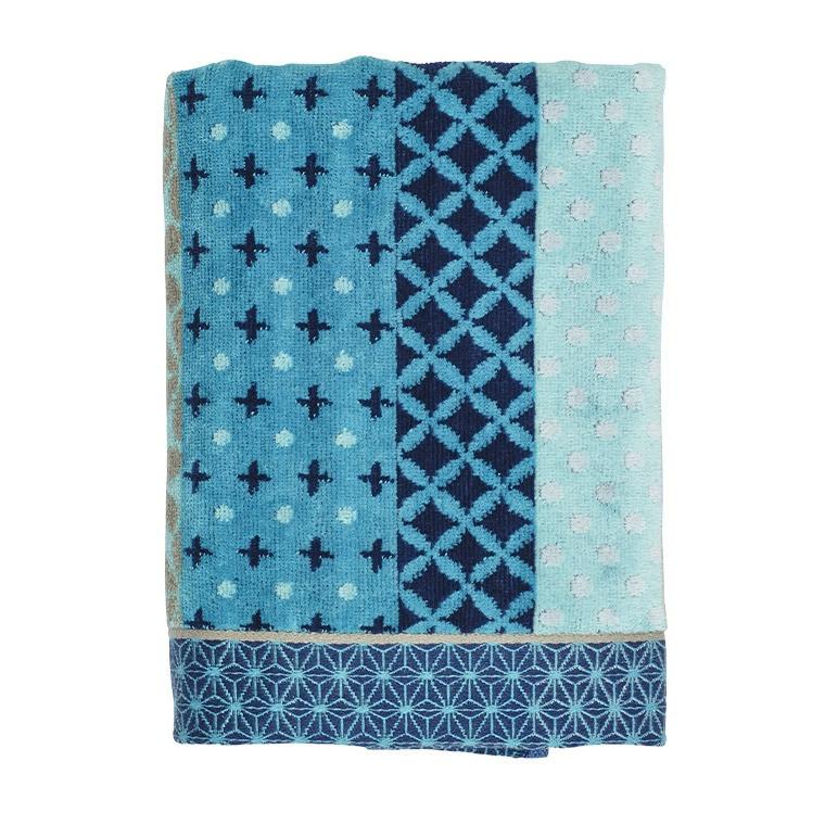 serviette de toilette curacao bleu jacquard carre blanc. Black Bedroom Furniture Sets. Home Design Ideas