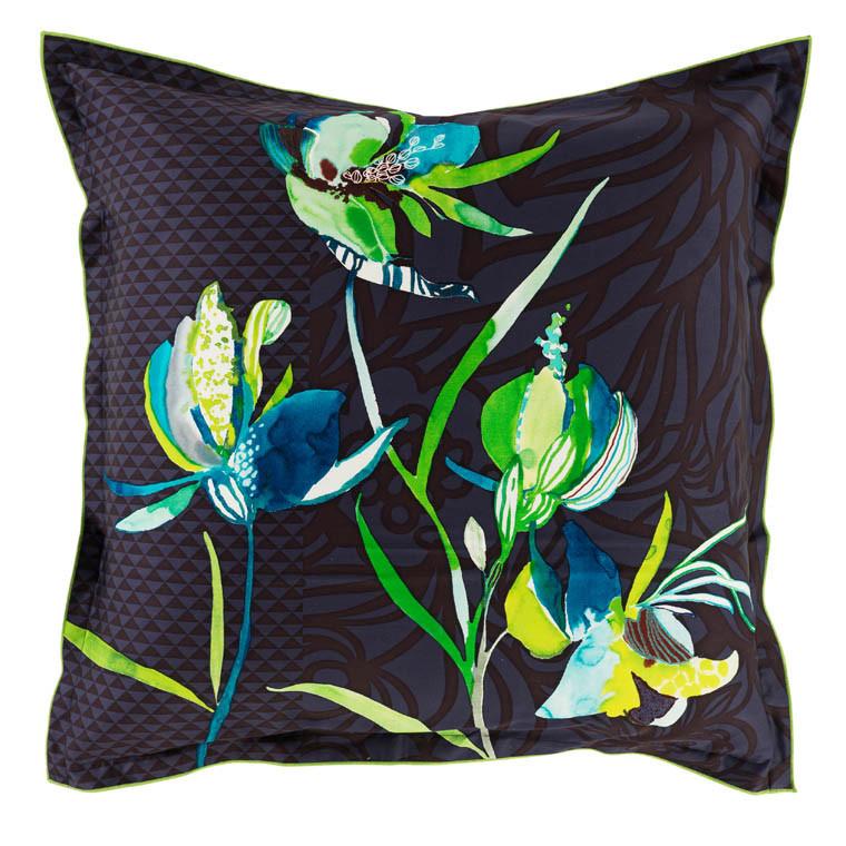 Parure de lit satin bleu nuit et turquoise imprim fleuri - Drap de plage carre blanc ...