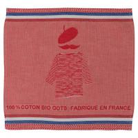 Serviette jacquard coton biologique Cocorico rouge