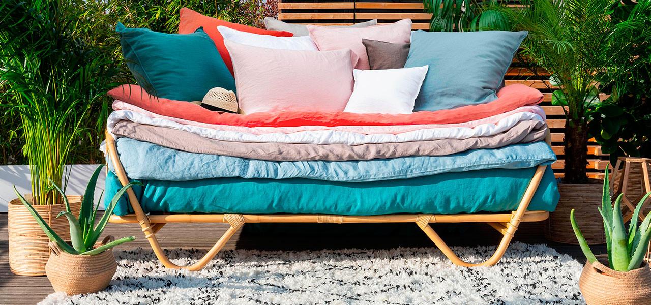 Parure de lit en lin SONGE plusieurs coloris
