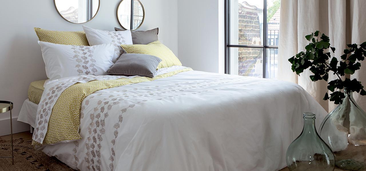 Parure de lit percale de coton brodée fleurie Ginkgo
