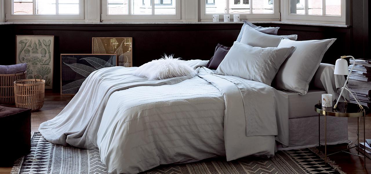 Parure de lit satin de coton brodée Irina