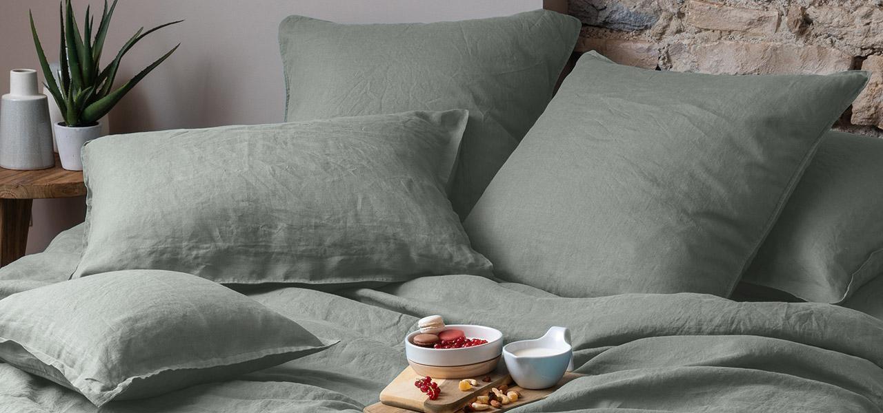 Parure de lit en lin Songe kaki cendré