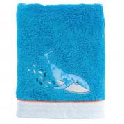 Drap de bain coton brodé baleine LOHAN bleu