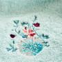 Serviette de toilette coton broderie florale Givre glacier