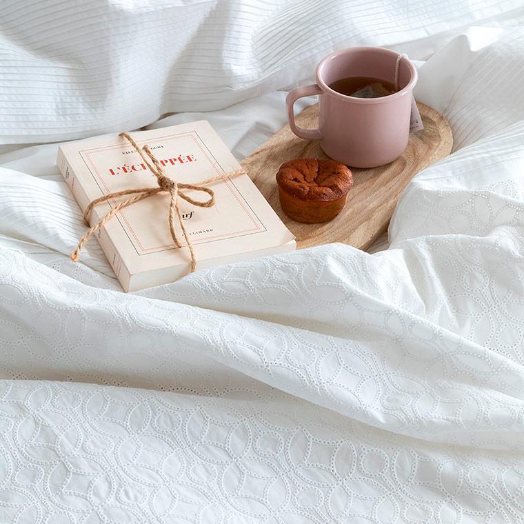 Housse de couette percale de coton broderie anglaise Amanda bohème - 1