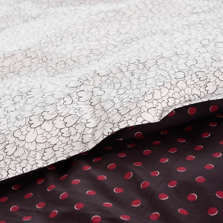 Housse de couette percale de coton imprimée Anae griotte - 2