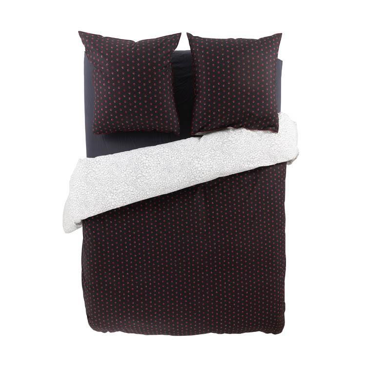 Housse de couette percale de coton imprimée Anae griotte - 5