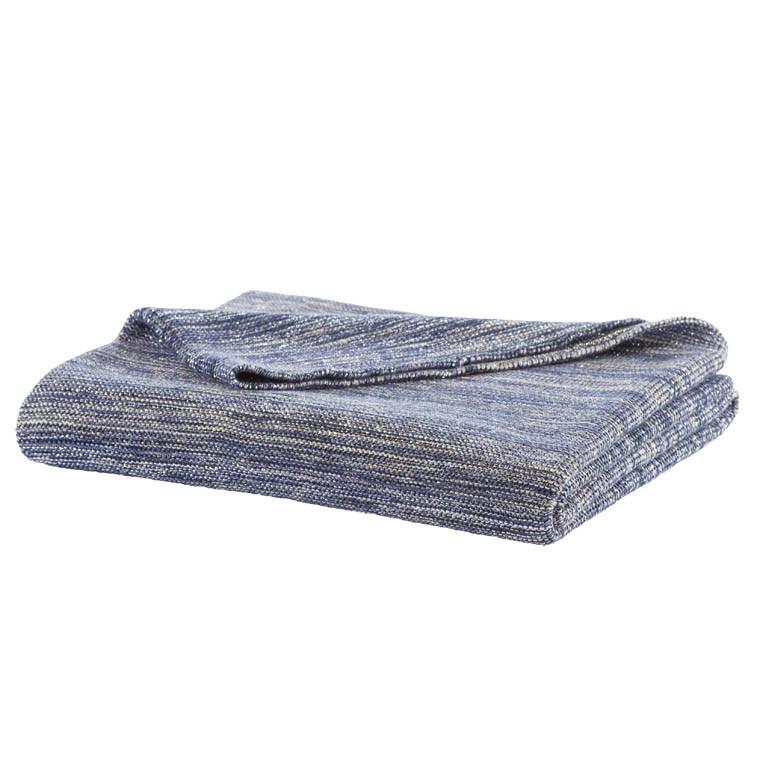 plaid en maille coton et lurex bleu fonc et dor brillant carr blanc. Black Bedroom Furniture Sets. Home Design Ideas