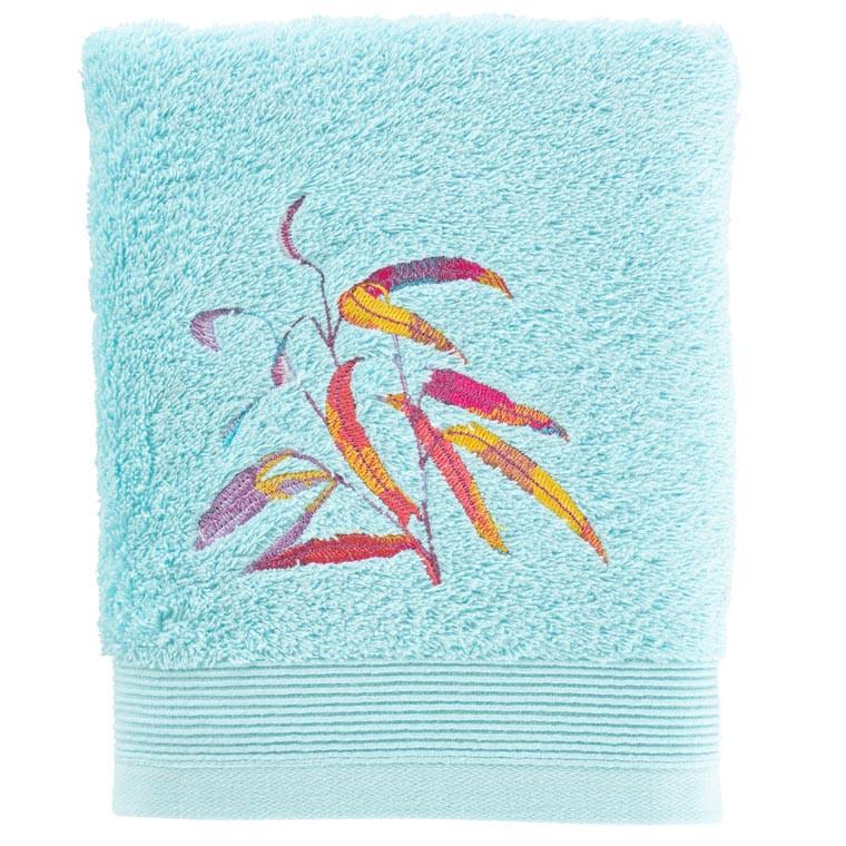 Serviette de toilette coton brodé végétal Asphodel lagon - 0
