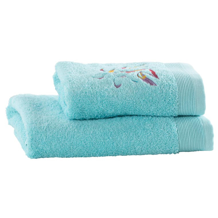 Serviette de toilette coton brodé végétal Asphodel lagon - 3