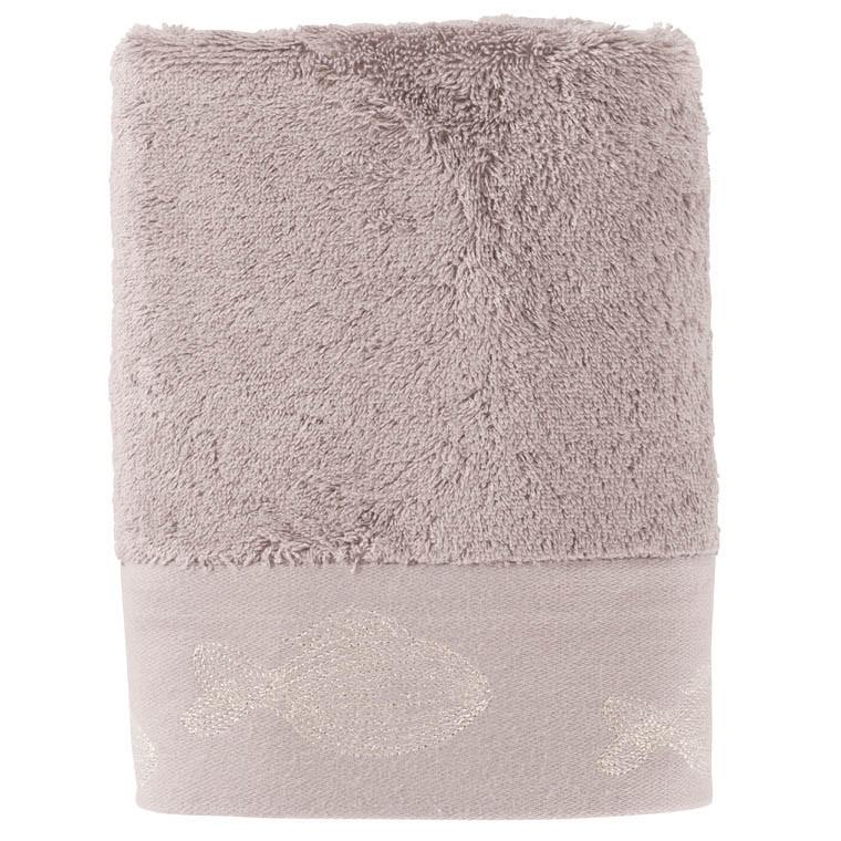 Serviette de toilette bouclette de coton brodée Bellagio gris - 0