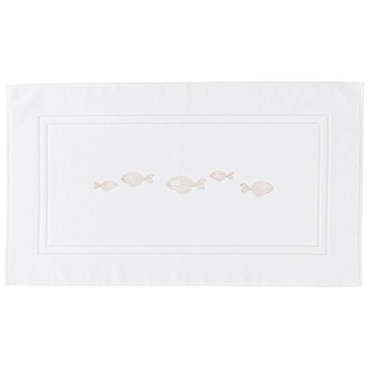 Tapis de bain bouclette de coton brodé Bellagio blanc - 0