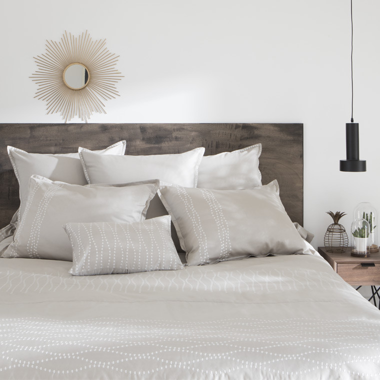 Housse de couette botany carre blanc - Parure de lit destockage ...