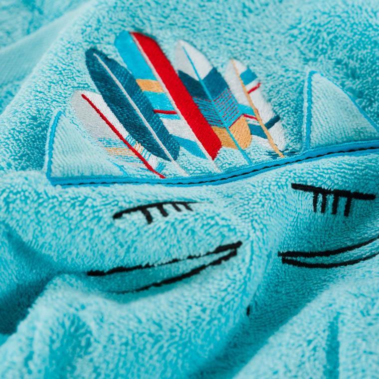 Serviette de toilette bouclette de coton brodée chat Colorful lagon - 2