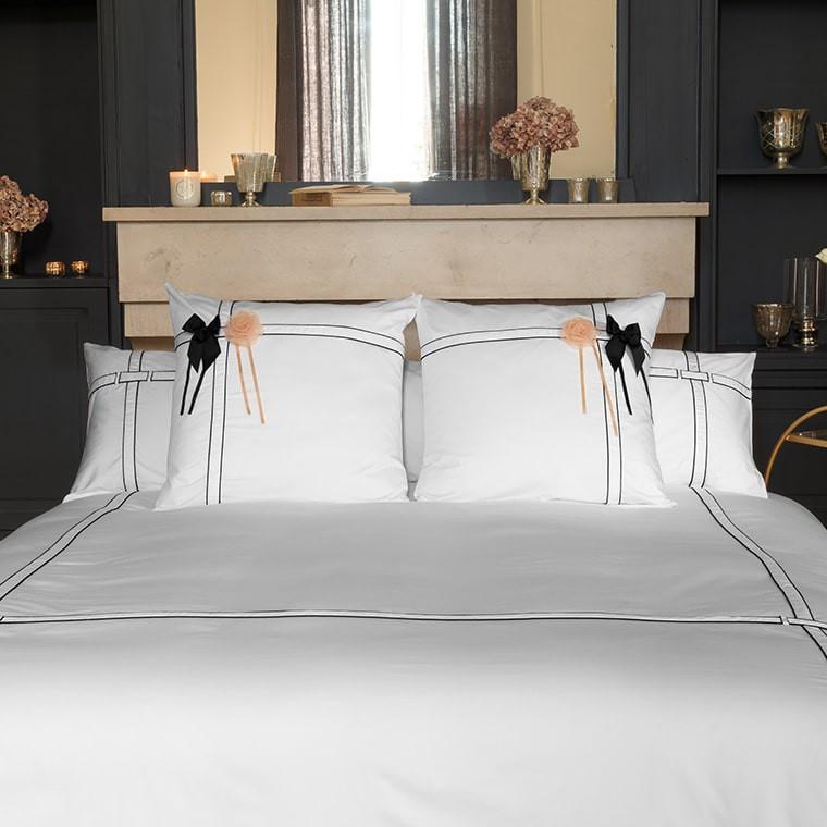 Parure de lit satin de coton unie à bandes noires Couture classique chic  - 0