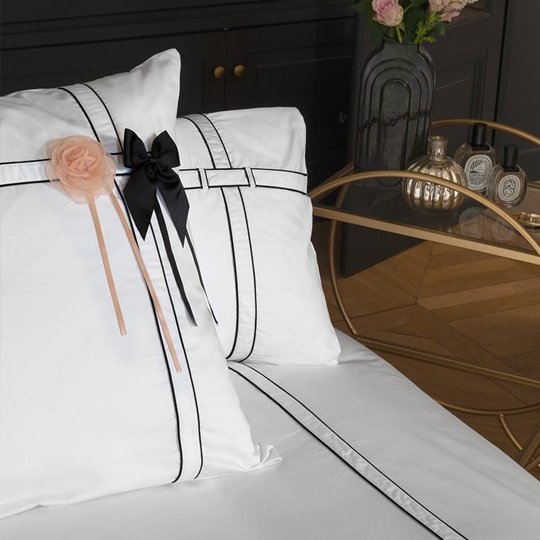 Parure de lit satin de coton unie à bandes noires Couture classique chic  - 1