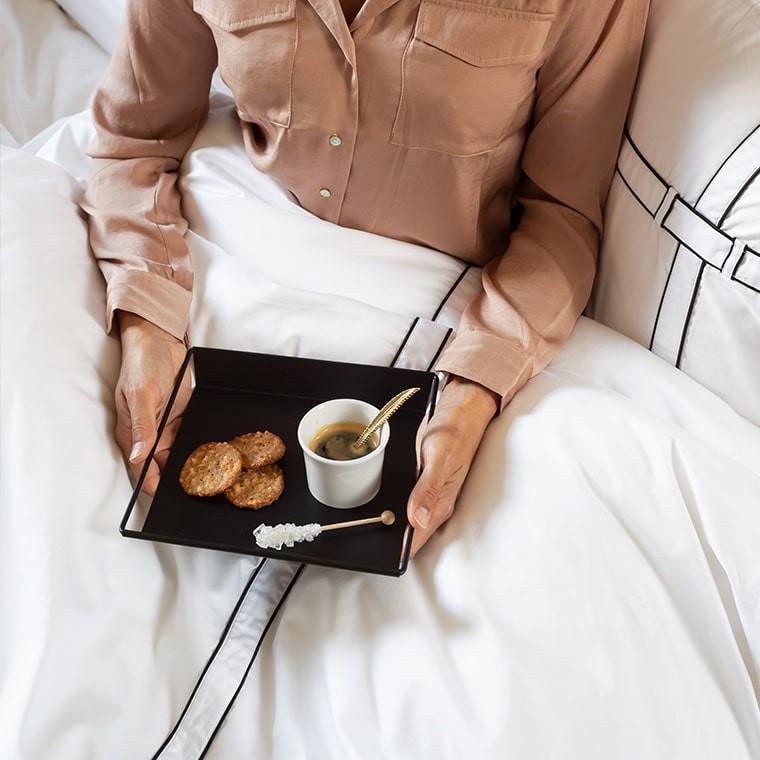 Parure de lit satin de coton unie à bandes noires Couture classique chic  - 5
