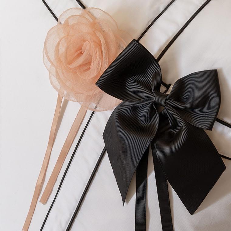Parure de lit satin de coton unie à bandes noires Couture classique chic  - 2