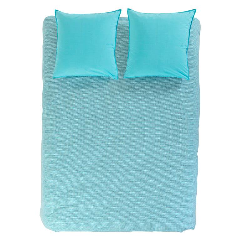 housse de couette turquoise r versible imprim graphique carr blanc. Black Bedroom Furniture Sets. Home Design Ideas
