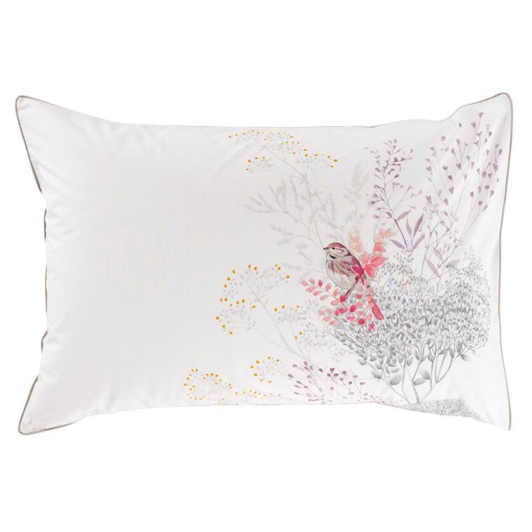 Taie d'oreiller retangulaire percale de coton fleur Cybèle - 0