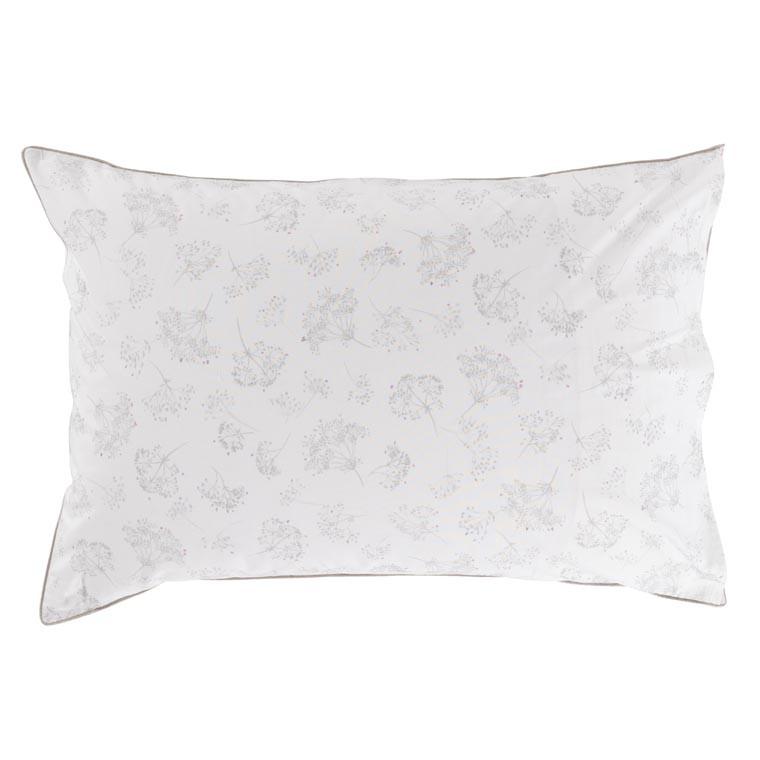 Taie d'oreiller retangulaire percale de coton fleur Cybèle - 1