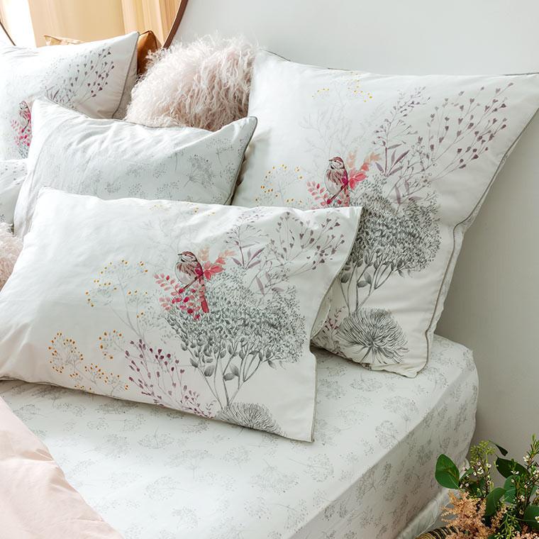 Taie d'oreiller retangulaire percale de coton fleur Cybèle - 5