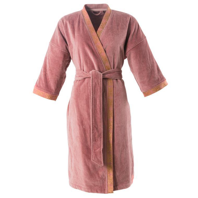 Peignoir femme velours kimono Divine bois de rose  - 0