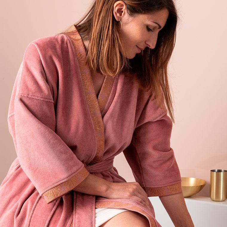 Peignoir femme velours kimono Divine bois de rose  - 7