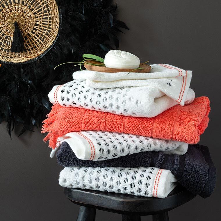 Serviette invité coton à pois jacquard Ellyn blanc - 2