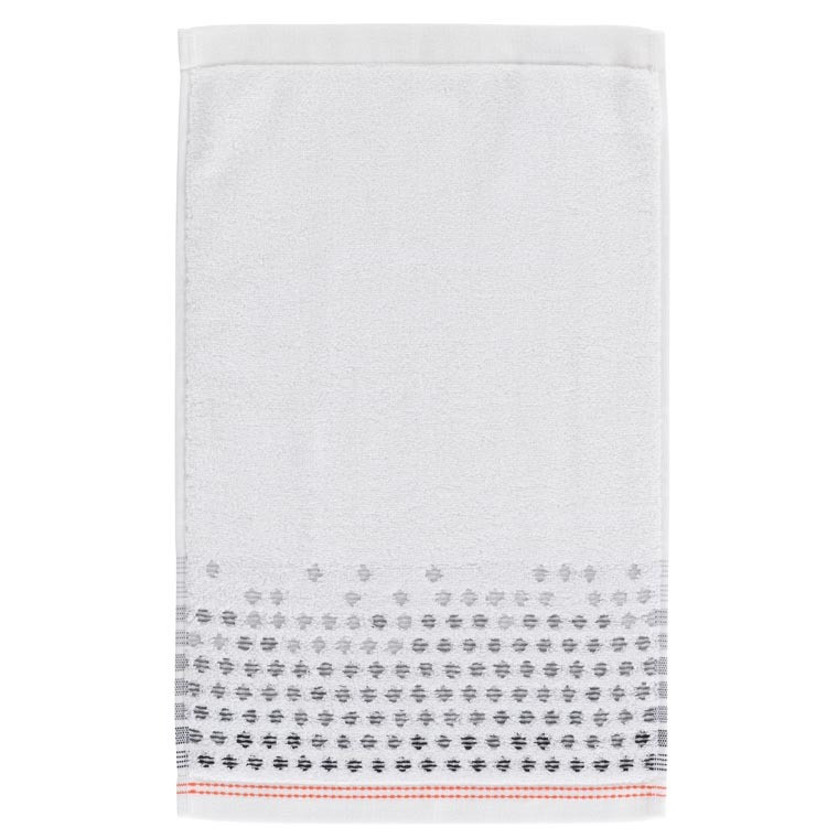 Serviette invité coton à pois jacquard Ellyn blanc - 1