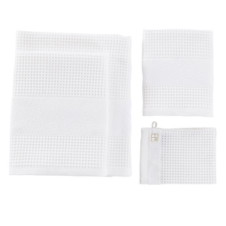 Serviette de toilette unie coton biologique Envol en nid d'abeille blanc - 3