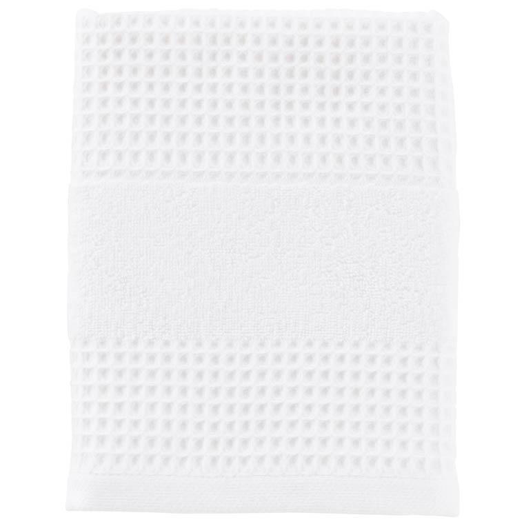 Serviette de toilette unie coton biologique Envol en nid d'abeille blanc - 0