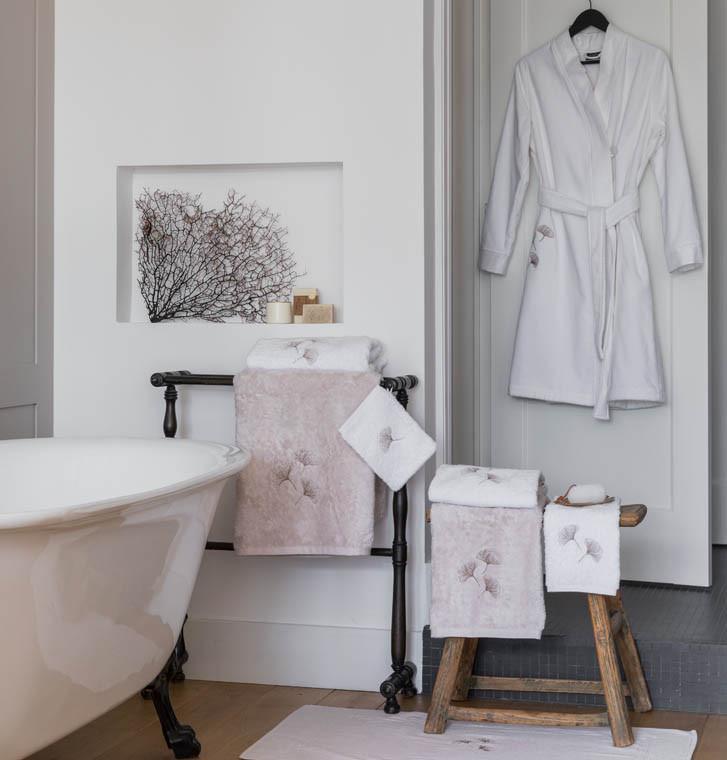Tapis de bain coton brodé Ginkgo blanc - 1