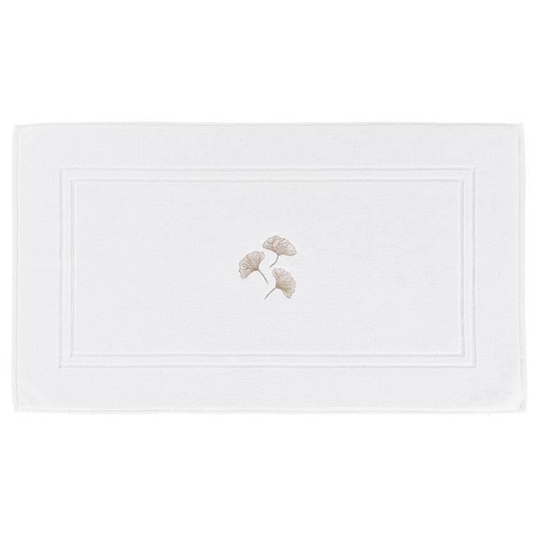 Tapis de bain coton brodé Ginkgo blanc - 0