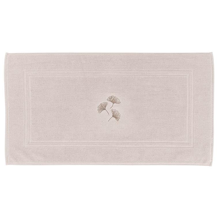Tapis de bain coton brodé Ginkgo grège - 0
