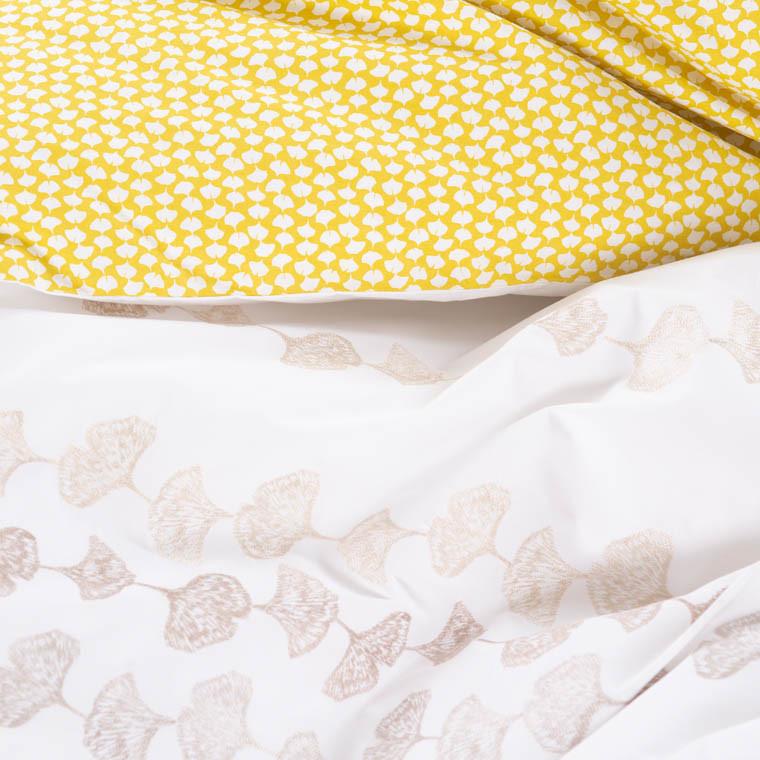 Housse de couette percale de coton brodée fleurie Ginkgo  - 2