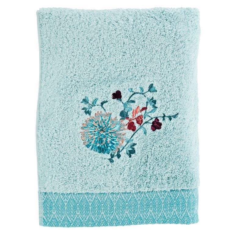 Drap de bain coton broderie florale Givre glacier - 0