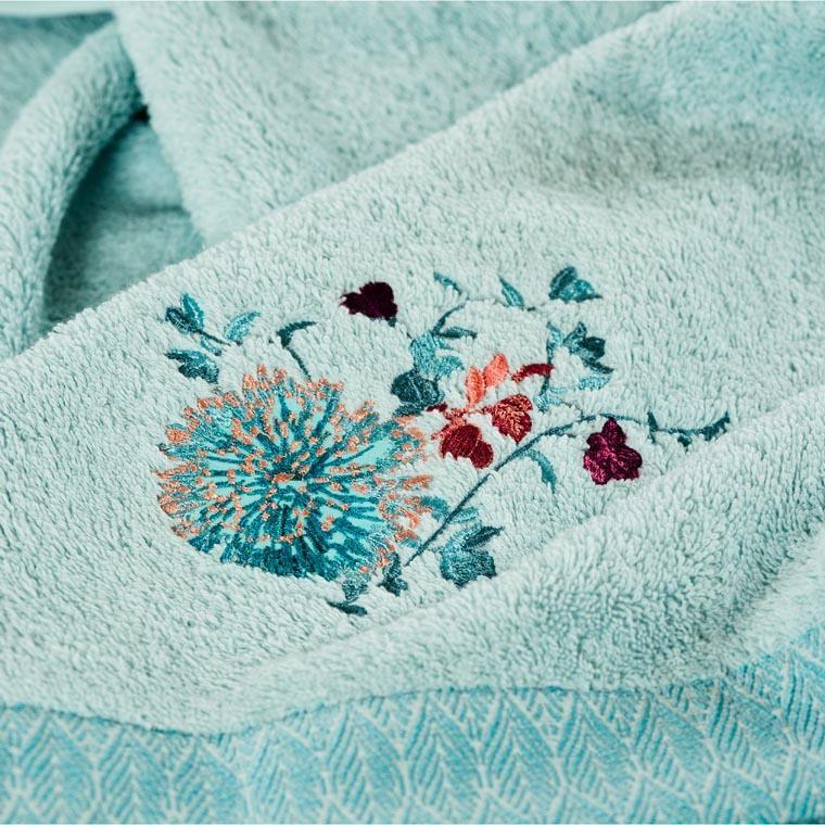 Drap de bain coton broderie florale Givre glacier - 1