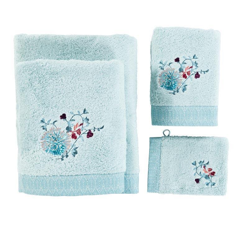 Drap de bain coton broderie florale Givre glacier - 3