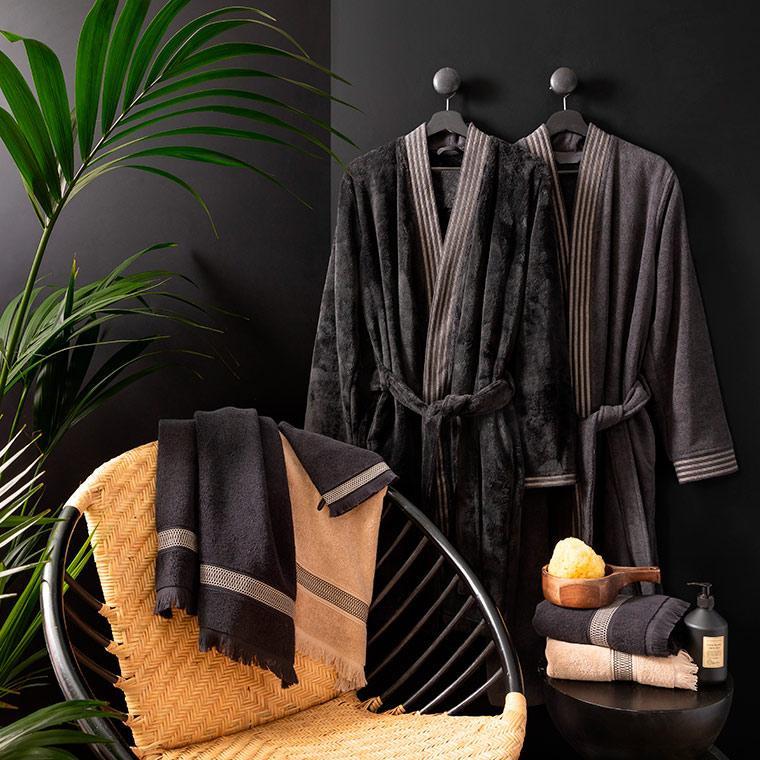 Peignoir homme coton kimono Havane anthracite  - 7