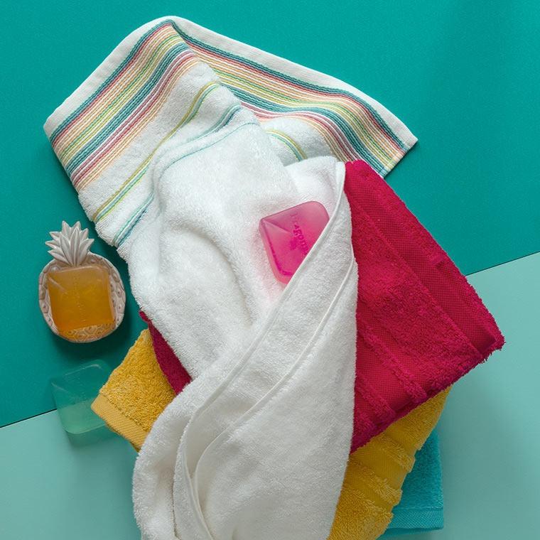 Gant de toilette coton rayures multicolores Holi blanc - 1