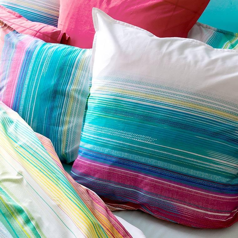 Taie d'oreiller rectangulaire percale de coton rayures multicolores Holi - 5