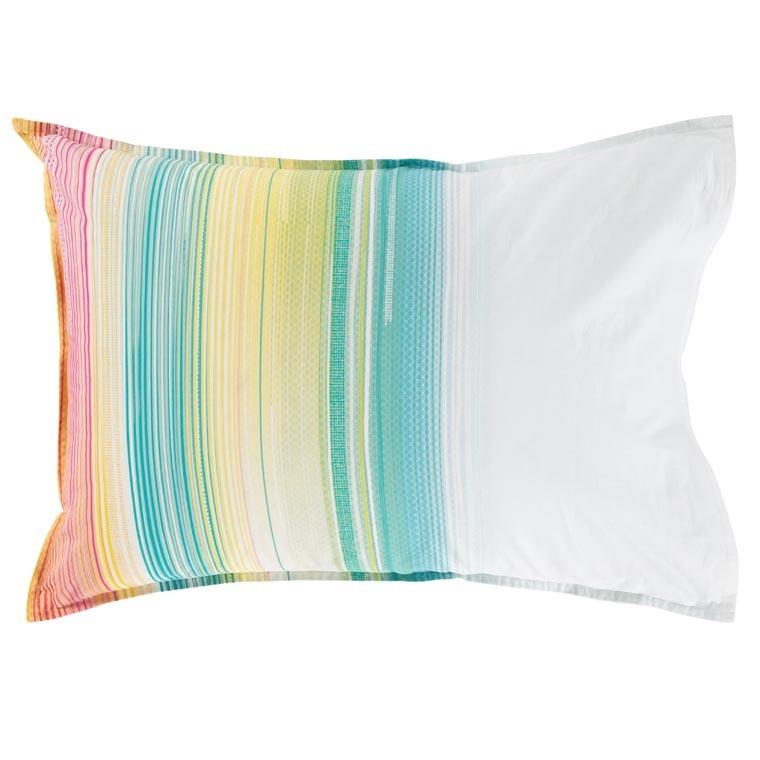 Taie d'oreiller rectangulaire percale de coton rayures multicolores Holi - 1