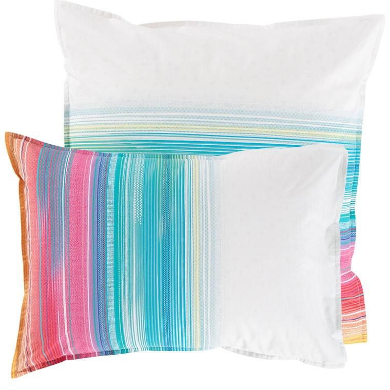 Taie d'oreiller rectangulaire percale de coton rayures multicolores Holi - 4