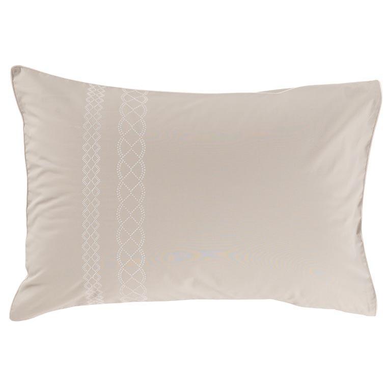 Taie d'oreiller rectangulaire percale de coton brodé Honorée - 0