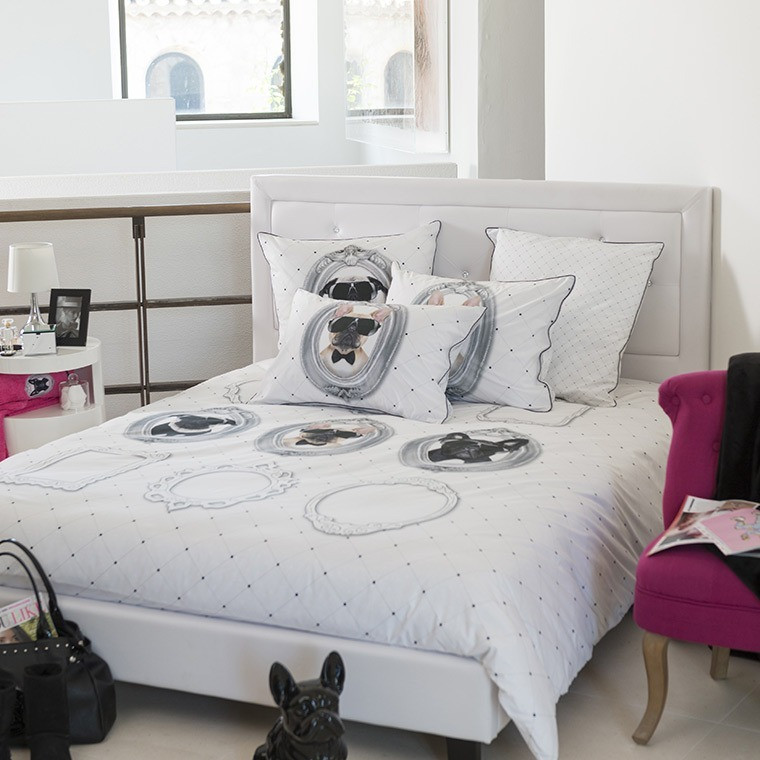 housse de couette ado tendance imprim s portraits de chiens. Black Bedroom Furniture Sets. Home Design Ideas